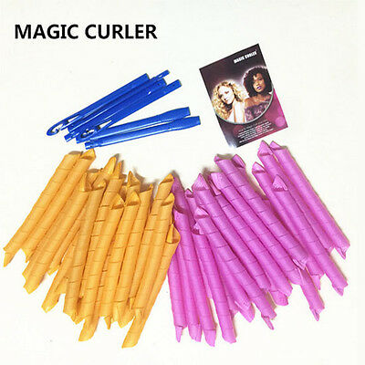 40pcs 55cm Hair Curlers Twist Spiral Circle Curlformers Magic Rollers Styling