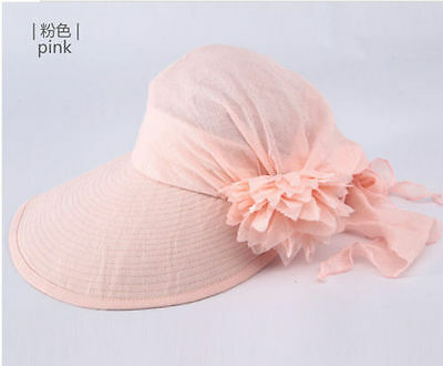 Fashion Women's Wide Brim Flower Hat Summer Beach Sun Visor Cap Hats Casual Pink