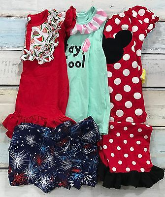 Girls Lot of 5 Ruffle Shorts, Shirts Size 7/8 Boutique 4th of July Summer