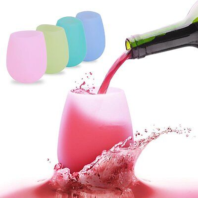 New Unbreakable BBQ Silicone Cup Wine Glass Stemless Beer Whiskey Collapsible DS