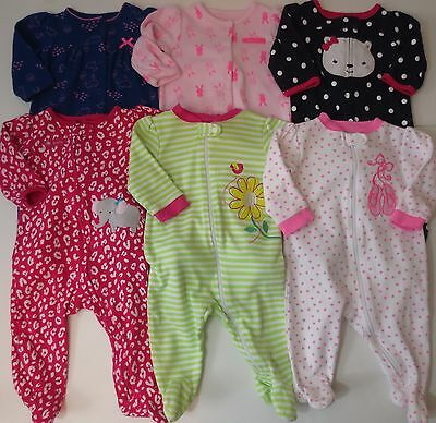 LOT Baby Girls Size 3-6 Months Sleepers Sleep And Plays Child Of Mine Garanimals