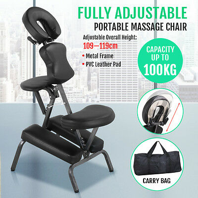 New Portable Massage Chair Beauty Therapy Bed Tattoo Waxing Black