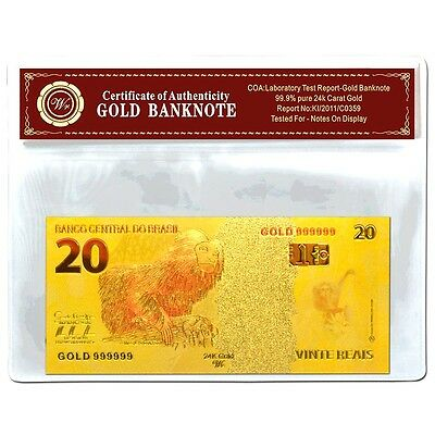 Brazil 20 Reais Gold  Banknote  24Kt Gold Coloured Unc  Bank Note Plus  Coa