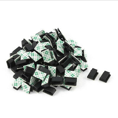 100pcs Car Wire Cord Cable Holder Tie Clips Fixer Organizer Drop Adhesive Clamp