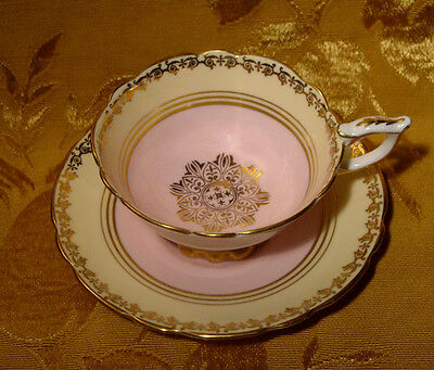 Royal Stafford Pale Pink, Lemon Yellow And Gold Design Tea Cup & Saucer England