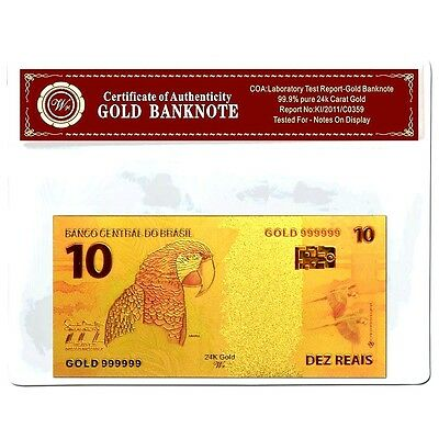 Brazil 10 Reais Gold Banknote  24Kt Gold Coloured Unc  Bank Note Plus  Coa