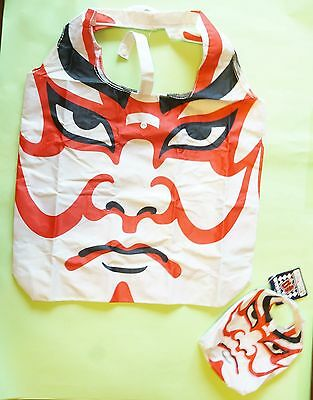 Japanese Tote Shopping Bag Kabuki Face traditional Foldable from Japan