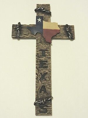 Cross Texas Flag & Barbed Wire Accents 14x8 inches Polyresin New Wall Hanging