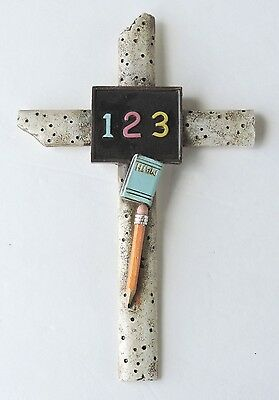 Cross Teacher Pencil 123 Chalkboard 8x5in Polyresin Wall Hanging Style New