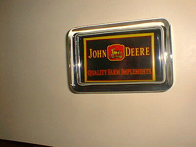 John Deere Tractor Quality Implements Black Advertising Sign Glass Paperweight