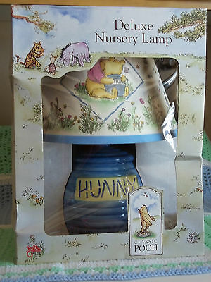 "Classic Pooh ""hunny Pots"" Lamp And Shade Rare Htf New Unopened In Original Box"