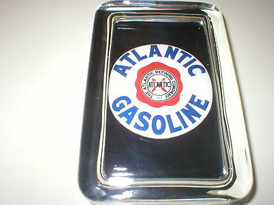 ATLANTIC REFINING GAS Oil Car  Advertising Label Sign Logo GLASS PAPERWEIGHT