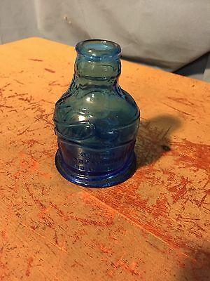 Wheaton N.J. Blue Glass Bottle Original Pocahontas Indian Herbs 3.5""