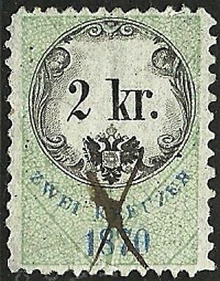 AUSTRIA 1870 VF Used The general revenue fourth issue stamp 2kr.