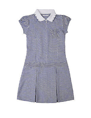 Girls Marks and Spencer blue check school uniform playsuit age 10-11 years bnwt