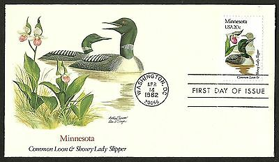 "US FDC 1982 First Day Cover "" Birds and Flowers of the 50 States"" MINNESOTA"