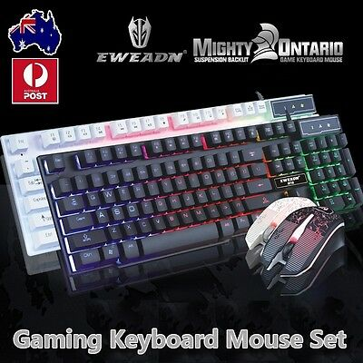Rainbow Backlit USB Wired Gaming Keyboard and Mouse Mice Bundles Set For WOW LOL