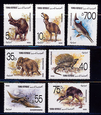 Yemen 1990 Prehistoric Animals Set Scott 549-55