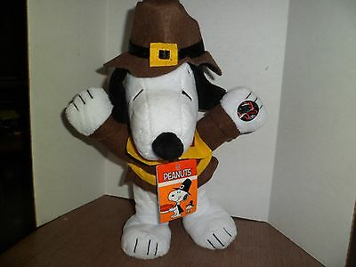 Peanuts Snoopy Thanksgiving Pilgrim Turkey In The Straw Musical Animated Plush
