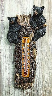 Lodge Resin Black Bears in Tree Wall Thermometer