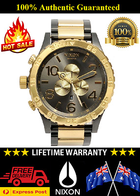 Nixon A083-595 Mens 51-30 CHRONO Black Gunmetal & Gold Watch