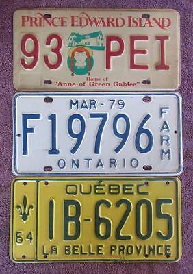 CANADIAN x 3 LICENSE NUMBER PLATES