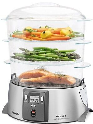 Compact Digital Food Steamer Breville 3 Tier Meal Cooker Stainless Steel Base