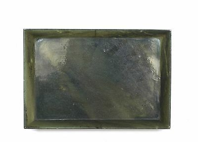 19C Chinese Spinach Jade Carved Carving Scholar Brush Dish Plate