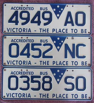 3 Victorian Bus License Number Plates