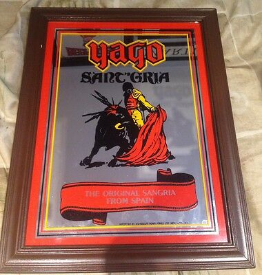 Vintage Rare Yago the Original Sangria From Spain Mirror Sign Mancave Bar