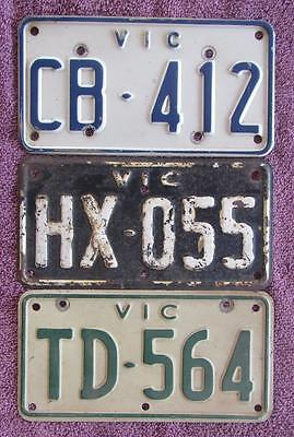 VIC x 3 MOTORCYCLE LICENSE NUMBER PLATES ALL DIFFERENT