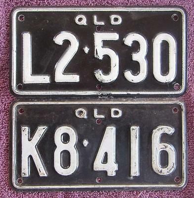 2 x QLD. TRACTOR LICENSE NUMBER PLATES
