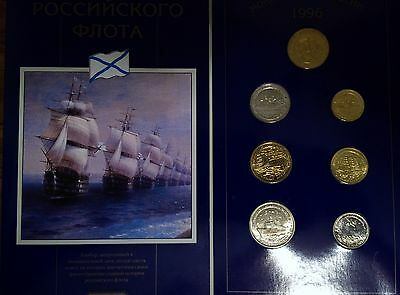 RUSSIA 1996 ORIGENAL SET OF 6 COINS & MEDAL UNC 300th YEARS RUSSIAN NAVY