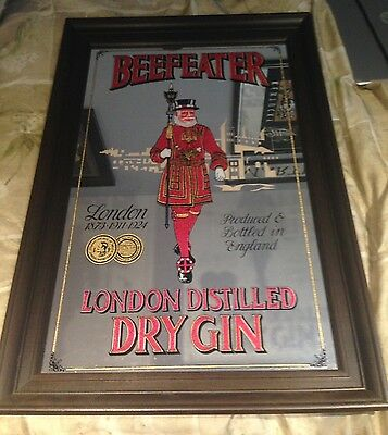 Vintage Beefeater London Distilled Dry Gin Framed Bar Mirror Sign Mancave Bar