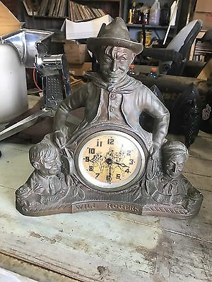"""Rare Antique United 1933 """"Will Rogers"""" Early """"Spin Start"""" Very rare Clock"""