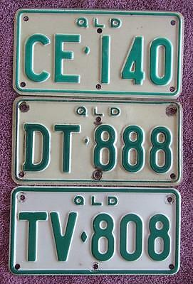 MOTORCYCLE QLD x 3 LICENSE NUMBER PLATES