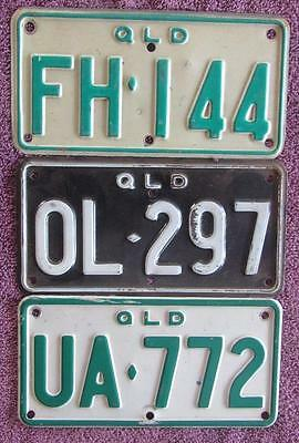 MOTORCYCLE QLD x 3 DIFFERENT LICENSE NUMBER PLATES