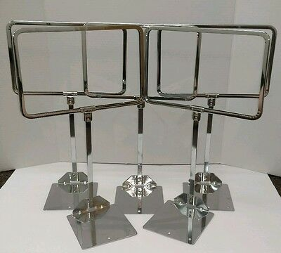 """NOS Unused VINTAGE LOT OF 5 METAL STORE SIGN DISPLAY TABLE STANDS 7"""" X 10"""" Frame"""