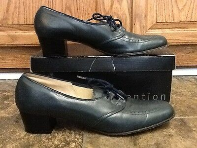 Foot Saver Shortback Last Vintage Women's Navy Lace Up Shoes Heels Size 10.5