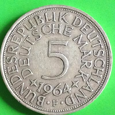 1964 F Germany Silver 5 Mark Coin