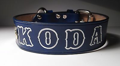Personalized Dog Collar Blue Leather & ID Nameplate 1 1/2 inches wide