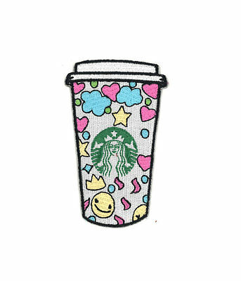Starbucks Coffee Cup Iron-On Patch Hipster Kawaii Cute Enamel Pin Barista Tea