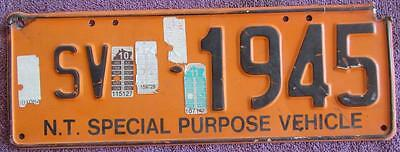 Special Purpose Vehicle Nt License Number Plate #sv 1945
