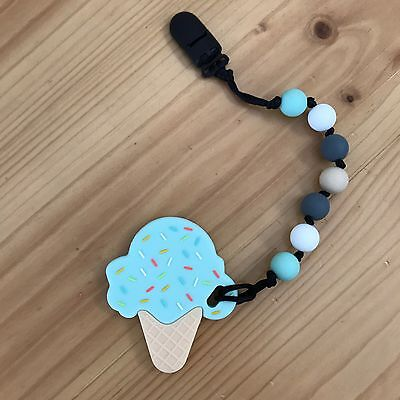 Teething Ring Teether Sensory Baby Silicone Dummy Clip
