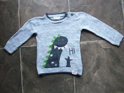 Boy's Pumpkin Patch Blue Dinosaur Knitted Cotton Jumper Size 1
