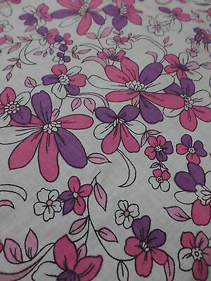 Retro Vintage Pink And Purple Floral Cotton Fabric..AS NEW