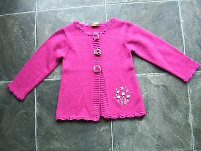 Girl's Jelly Beans Pink Knitted Wool & Acrylic Cardigan Size 7 VGUC