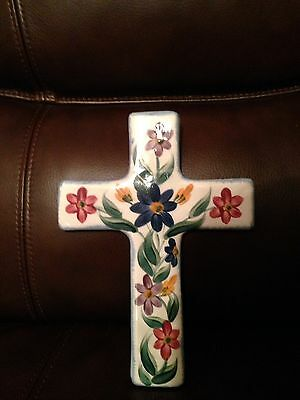 "Gail Pittman 12"" Ceramic Cross Hand Painted 1999"