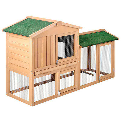 Rabbit Hutch Chicken Coop Cage Guinea Pig Ferret House With 2 Storeys Run Large