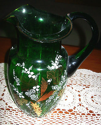 Stunning Antique Victorian Green Glass Jug - Hand Decorated -1890's